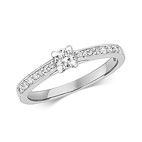 Bague Femme Solitaire Fiancailles Or Blanc 375/1000 et Diamant Brillant 0.27 Carat H - I1