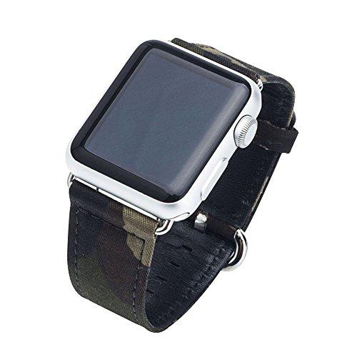 Cuitan Langlebig Leinwand Uhrenarmband für 38mm Apple Watch iWatch, mit Adapter Ersatzband Uhrband Watch Strap Wrist Band Armband Watchband für Apple Watch (Nicht enthalten Uhren) (Echte Zubehör Stella)