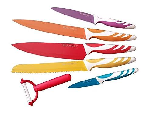 EVERRICH™ 6 Piece Coloured Professional Kitchen Knife Block Set with Potato Peeler Christmas XMAS (Red, Orange, Yellow, Purple, Blue. 1pc 8