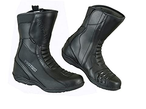 Pro First Full Leather High Ankle Mens Motorbike Armoured Boots Anti Slip Rubber Soul Motorcycle Waterproof Cruiser Boot Shoes Racing Sports | Full Black, UK 7 / EU 41