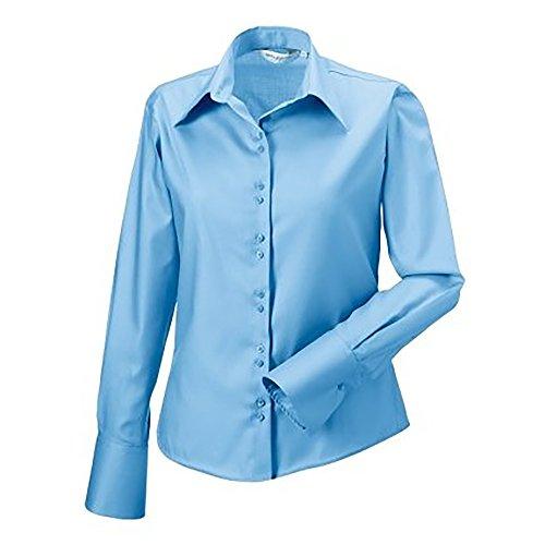 Russell Collection Bluse, Langarm, bügelfrei Pink Blau