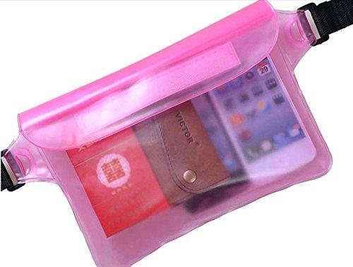 sijueam Wasserdicht (Tauchfähig Dry Bag Fall für Handy Geldbeutel MP3iPod Touch Kamera Schutz für Schwimmen/Beach/Fahrrad/Bootsleine/Surfen Bum Tasche, verstellbarer Bauchgurt Rosa rose Rosa Ipod Touch Fällen