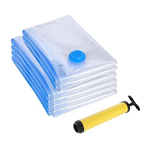 Songmics 6 sacchetti buste sottovuoto salvaspazio per abiti biancheria cuscini, 40 x 60 cm(2x), 60 x 80 cm(4x) rvm063