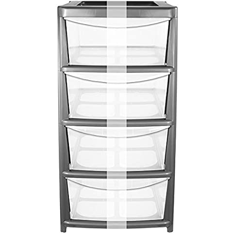 CrazyGadget® Plastic Large Tower Storage Drawers Chest Unit with Wheels - MADE IN U.K. (4 Drawers,
