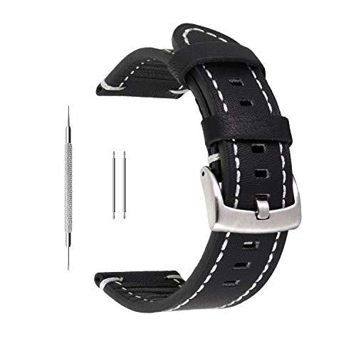 Uhrenarmband aus Echtleder von Berfine, extra weiches Echtleder, Ersatzarmband für Damen- und Herrenuhren, schwarz, braun, 18mm, 20mm, 22mm, Schwarz , 22 mm - Für Martian Uhrenarmband Notifier