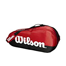 Wilson Tennis Racquet Bag, Team, 1 Compartment, Up to 3 Racquets, Red/Black/White, WRZ857903