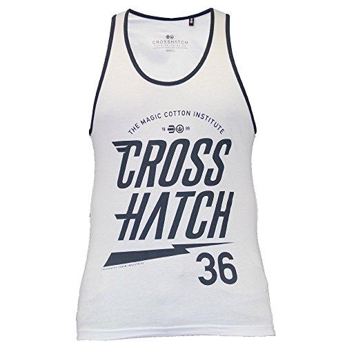 Herren Crosshatch Monray Ärmellos Muskelshirt Tank Top Baumwolle Trainieren Gym-weste Weiß