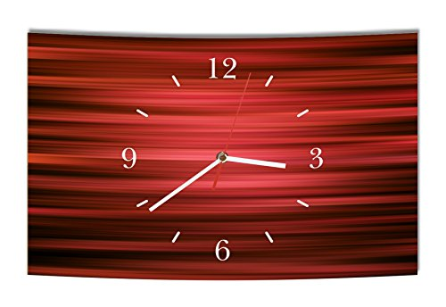LAUTLOSE Designer Wanduhr Abstrakt rot schwarz modern Dekoschild Abstrakt Bild 38 x 25cm