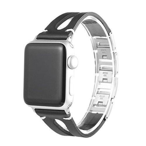 Produktbild BZLine® Apple Watch Armband 38mm / 42mm,  Leder Ersatz Uhrenarmbänder für iWatch Serie 3 Serie 2 Serie 1 Sport,  erhältlich (38 mm,  Schwarz)