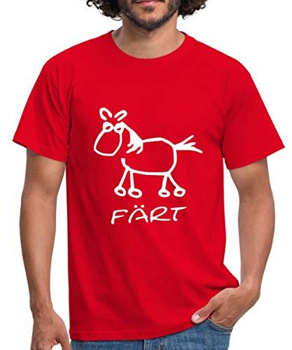 Färt Lustiges Pferd Zeichnung Männer T-Shirt, M, Rot