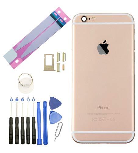 Infigo Backcover für iPhone 6 Gold Gehäuse housing Rahmen Rückseite Aluminium inkl Kleinteile, Akku Klebepad und Werkzeug (iPhone 6, Gold) (Iphone 6 Rahmen)
