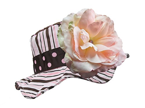 Brown Dots Ribbon (Jamie Rae Hats - Brown with Pink Ribbon Dots Sun Hat with Pale Pink Large Rose)
