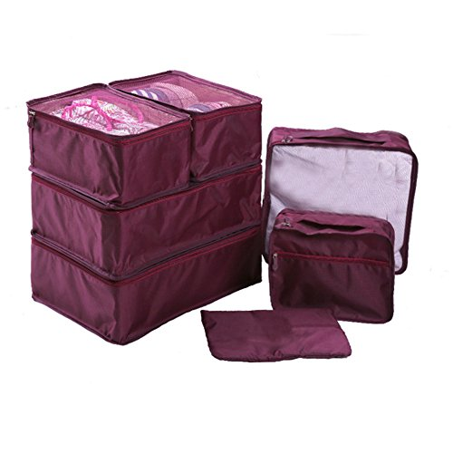 Ewparts 7 Pack Travel Packing Organisers Set , Packing Cubes Essential Bags in Bag Travel Storage Waterproof Nylon Drawstring Dry Bag, for Clothes Suitcase Luggage Storage Laundry Bags (Mulberry)