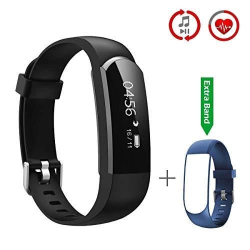 CHEREEKI Pulsera Inteligente Fitness Tracker Monitor de Pulso Cardiaco Deporte Actividad Tracker con Control de Música/Mensaje/ Llamada Telefónica Compatible con Android y iPhone (Negro)