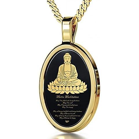 Collar con ónice, Buda, meditación Metta y loto en oro 24ct - Dijes espirituales