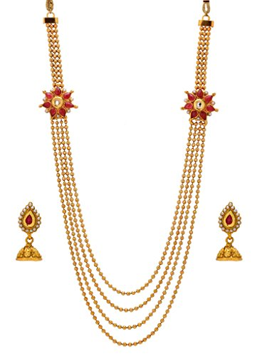 Bindhani® Traditional Long Rani Har (Haar) Red Kundan Necklace Jhumki Earrings Set For Women  available at amazon for Rs.432