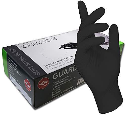 100 Stck - Einweghandschuhe von GUARD 5 - Schwarze Nitril-Handschuhe puderfreie Tätowierhandschuhe Kochhandschuhe (8 /M)