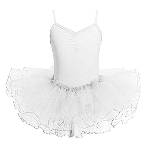 Baile de Ballet Jersey Camiseta de Niña Maillot Traje de Ballet Leotardo Princess Girls Vestido de Pantera Falda de Tul Traje de Carnaval (Edad: 3-10 Años) (130 (5-6 Años), Blanco)