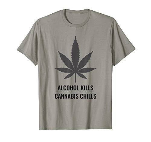 Marijuana Alcohol Cannabis Text T-Shirt