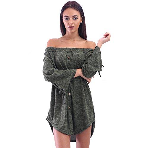 Damen weg von der Schulter Mottled Bardot Hemdkleid Top EUR Größe 36-42 Khaki