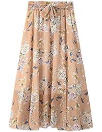 Yiiquanan Femme Jupes Longues en Mousseline avec Imprimé Floral Elastique  A-Line Maxi Jupe Plissée d2fb3b92f6b3