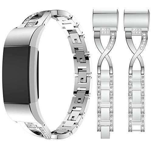 Qianyou Für Fitbit charge2 Armband Edelstahl, Fitbit Charge hr 2 Armband, Edelstahl Metallarmband mit mit Bling Strasssteinen Uhrenarmband Armbänder für Fitbit Charge 2/HR 2 (Siber)