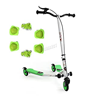 FoxHunter TRX Pro4 Tri Scooter | Green Mini Winged Push Scooter for kids | Trike Slider Drifter | 3 Wheel Boys + Girls Scooter | *FREE SAFETY GEAR INCLUDED*
