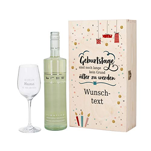 Herz & Heim® Bree Wein-Geschenkset mit graviertem Weinglas und Bree Wein zur Auswahl in Präsentbox zum Geburtstag Weiß