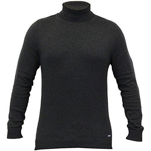 Mens Jumper Fadenscheinig Gestrickten Pullover Top Schildkröte Polohemd Pullover Winter Neu Dunkelgrau - IMU016PKB