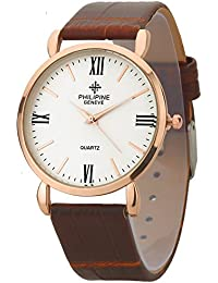 PHILIPINE Mens - Womens Analogue Rose Gold Slim Case Brown Leather Strap Wrist Watch (PHI1210)