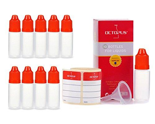 10 flaconi liquidi da 10 ml con imbuti + etichette, ad es. per e-liquidi + e-sigarette, bottiglie di plastica in pe ldpe, flaconi di dosaggio liquidi, bottiglie in calo o bottiglie per spremere + coperchi rossi