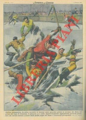 Durante un incontro di hockey sullo specchio gelato di un'ansa del Reno, il ghiaccio si rompeva improvvisamente.