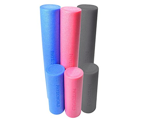 PhysioWorld Foam Roller - 45x15cm / 90x15cm - Blue / Pink (Pink, 45x15cm)