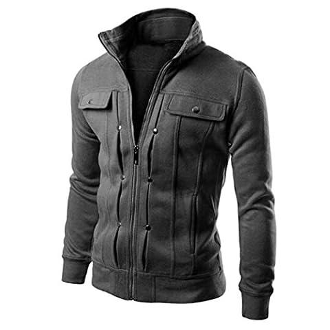 Toamen Autumn Winter Top Fashion Mens Slim Designed Lapel Cardigan Coat Jacket (M, Dark Gray)