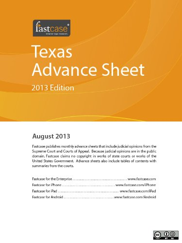 Texas Advance Sheet August 2013 (English Edition) PDF Books