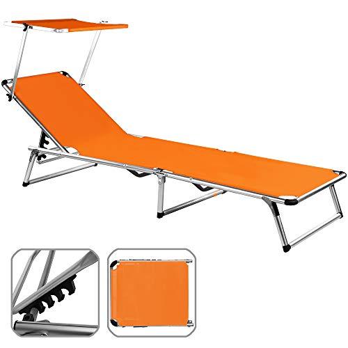 Chaise longue avec pare soleil pliante aluminium Transat pliable Parasol ORANGE 190x67 cm