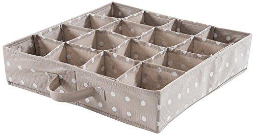Compactor Home RAN4402_Brown Rivoli Schubladen-Organizer mit 16 Fächern, Polypropylen, Weiße Punkte Auf Cappuccino 40 x 40 x 9 cm