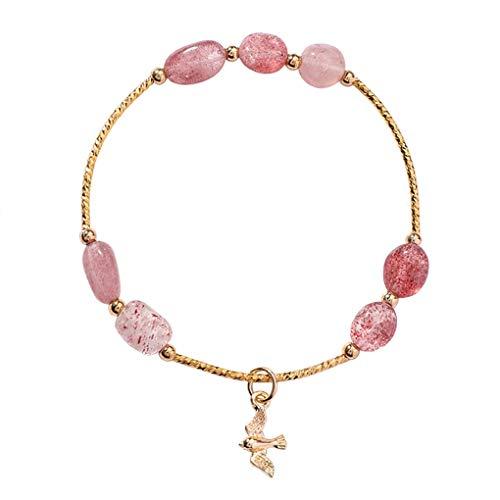 CAVIVI Kristall Perlen Armband für Frauen Mädchen Liebe Herz Vogel Fisch Anhänger Einfache süße süße unregelmäßige Handgemachten Schmuck, Dunkles Pulver