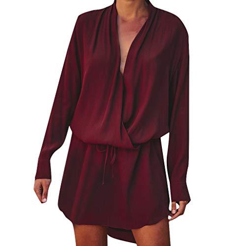 JURTEE 2019 Damen Bluse, V-Ausschnitt Kordelzug Langarm Abend Party Schnürkleid Minikleid Sommerkleid Oberteile Tops Frühling Bluse(Medium,Wein)