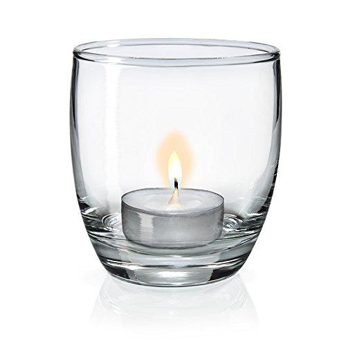 SIXBY Teelichtgläser - Windlicht Gläser - Tischdeko Atika Ø 72,5 mm, Höhe 81 mm (24 Stück)