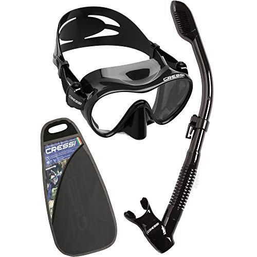 Cressi F1 & Dry Set - Combo Conjunto de Máscara y Snorkel para Adultos, Unisex, Negro