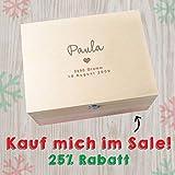 Baby Erinnerungsbox personalisiert mit Name und Daten, handgemacht aus Holz, Geschenkbox für Mädchen, individualisierbare Geschenke für Taufe, Neugeborenes