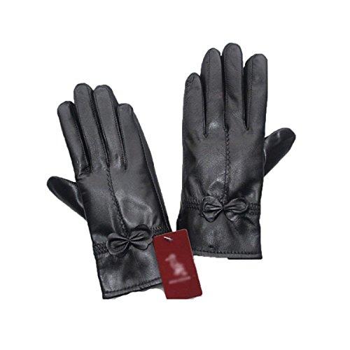 SED Lederhandschuhe Ride Plus Cashmere Verdickung Warme Frauen im Freien Männerhaut,Black3,Groß