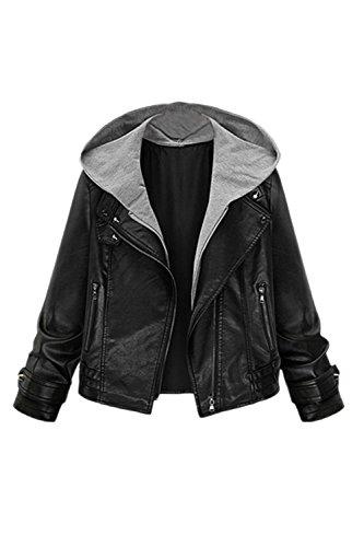 Frauen Im Motorrad - Punk - Pu - Leder - Jacke Outcoat Bis Radfahren Kurz Kapuzen - Blazer Plus Size Black 3XL