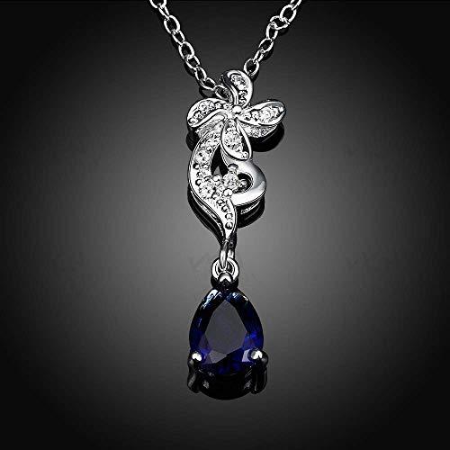 Kreativ Schmuck Kreative Zirkon Fringe Anhänger Europäischen und Amerikanischen Zubehör Frauen Silber Halskette (Farbe: Blau) Weihnachtsgeschenke für Frauen (Farbe : Blau)