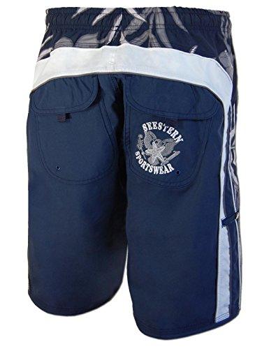 SEESTERN Herren Boardshorts Surfshorts mit Gummizug& Front Eingrifftaschen S-3XL /1743_VdA Blau