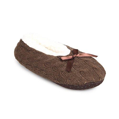 La Modeuse-Pantofole basso per bambini con ripieno e intrecciati in tessile dotato di un simpatico, motivo: papillon, Marrone (marrone), 32/35