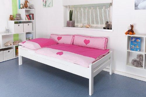 "Kinderbett / Jugendbett ""Easy Möbel"" K1/1n, Buche Vollholz massiv weiß lackiert - Maße: 90 x 190 cm"
