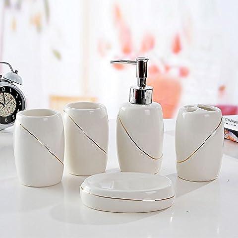 Ensemble d'accessoires de salle de bain HJKY Ensemble d'articles sanitaires Set de cinq pièces Mouthwash Lavage à la main Lavage de bouteilles Ensemble de cinq lignes de lignes abstraites Baignade Swan, lignes