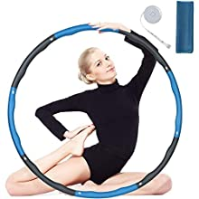 flintronic Hula Hoop, Folding Fitness Exercise Weighted Hoola Hoop, Detachable and Size Adjustable for Workout Sports Exercise, with Mini Tape Measure & Sport Towel (Not Suitable for Beginner)